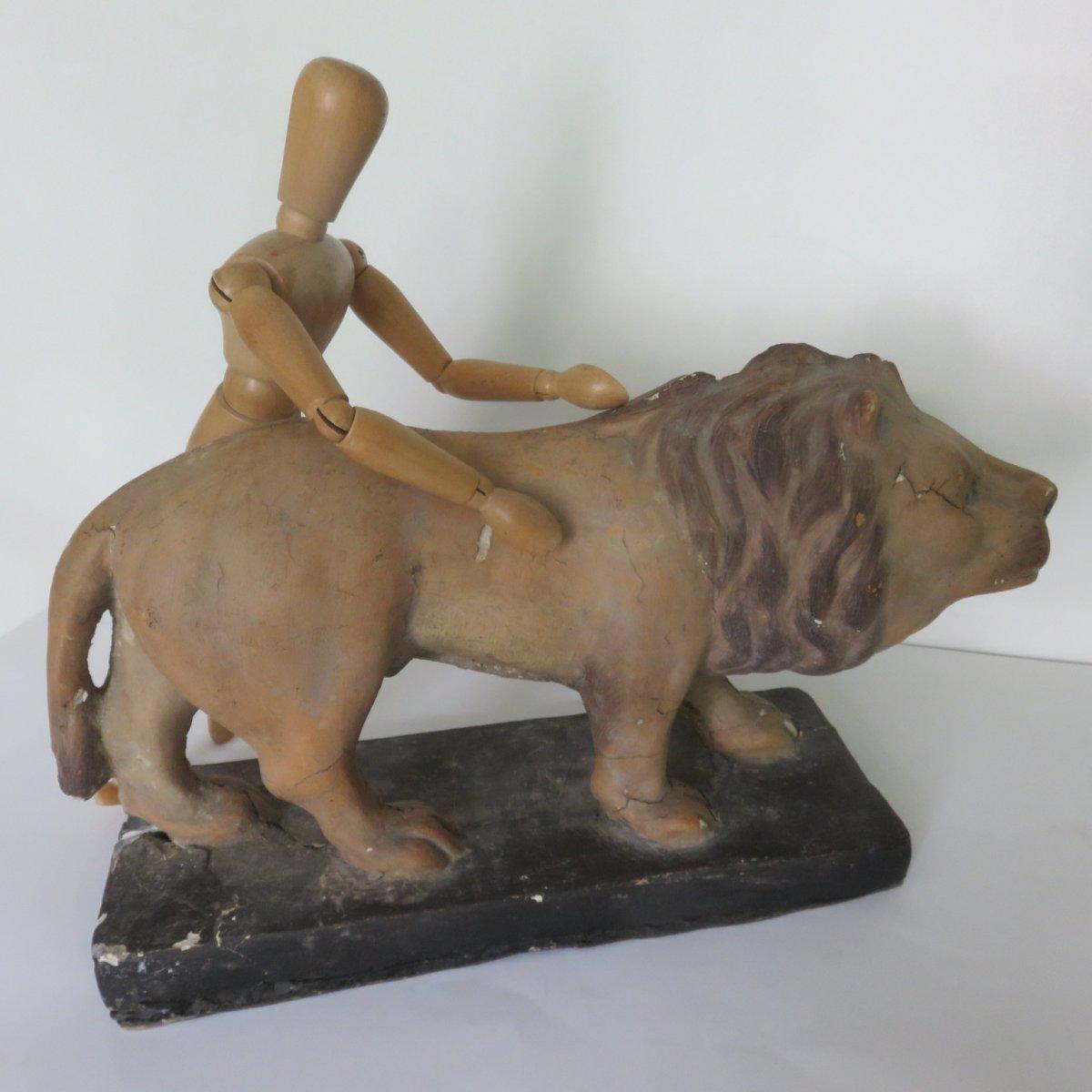 Lion Papier Mache Jouet XIXe