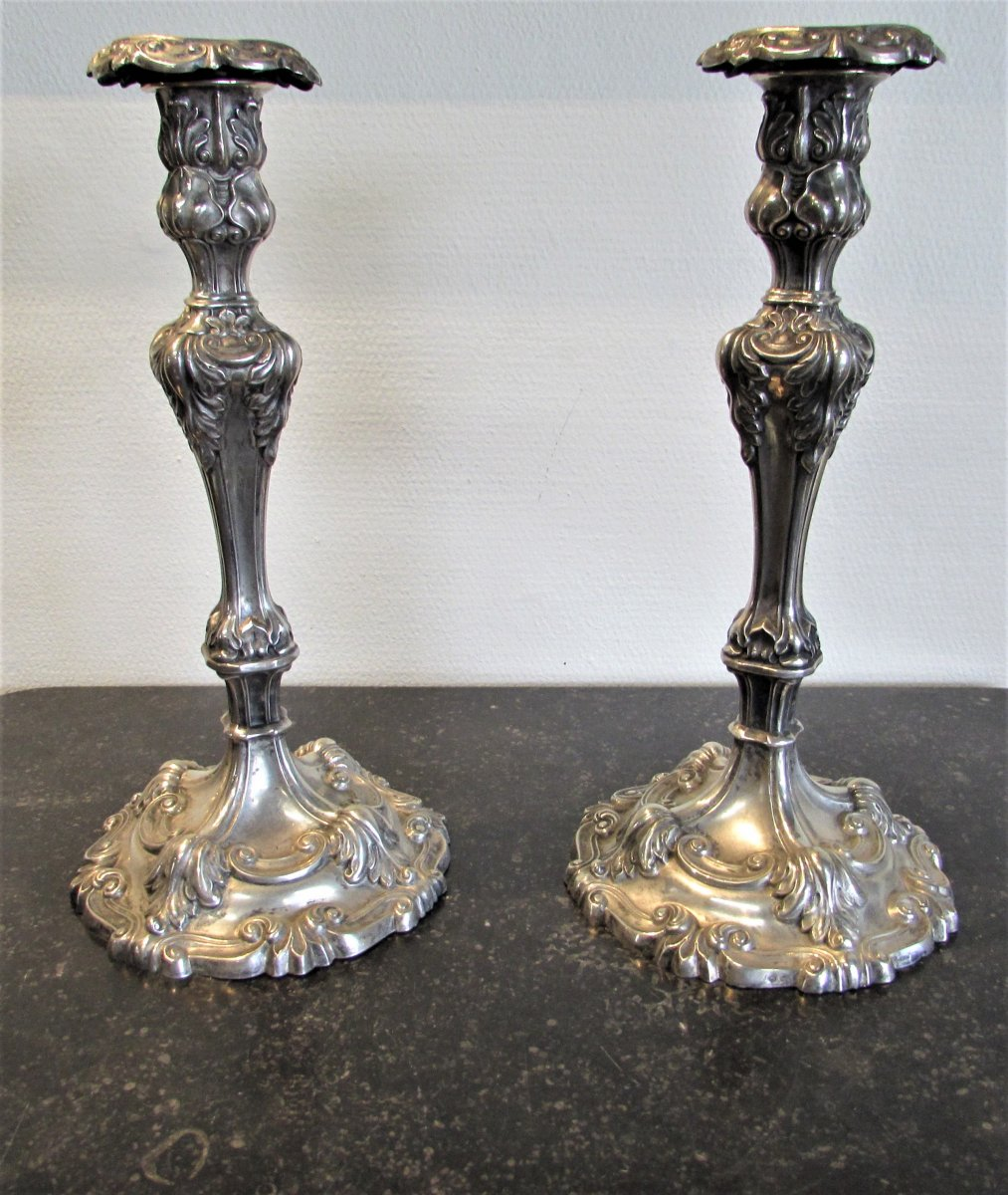 German Candlesticks XIXth Silver