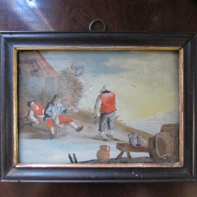 Fixé Sous Verre XVIIIème scène campagnarde