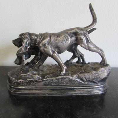 Bronze Chien De Chasse Par Alfred Dubucand