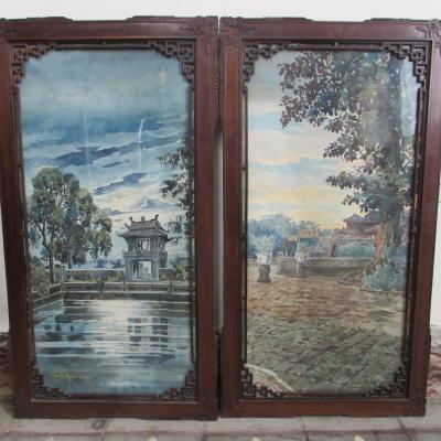 Aquarelle Indochine  Hué Par Khoadi Ngoc 1924