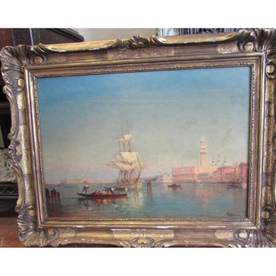 Sailboat Leaving The Quai Des Escalvons, Venice Charles-clément Calderon