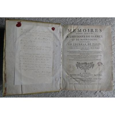 Old Book Memories To Serve In The History Of France And Burgundy 1729