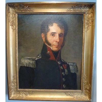 Tableau Portrait colonel de cavalerie XIXème  ( 3ème regiment de chasseurs à cheval )