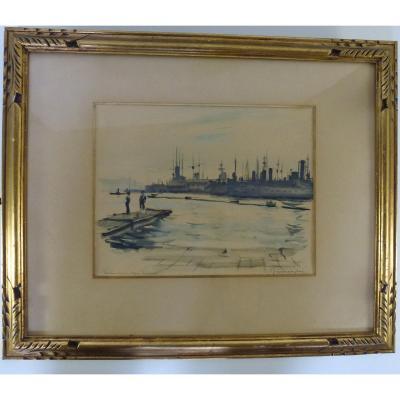 """Paul Perraudin , """"Toulon l'ancien Bagne 1953"""" aquarelle"""
