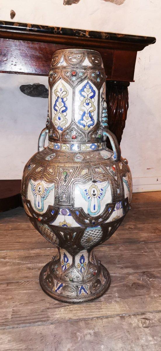 Grand Vase Potiche Orientaliste Maroc Ceramique Argent -photo-1