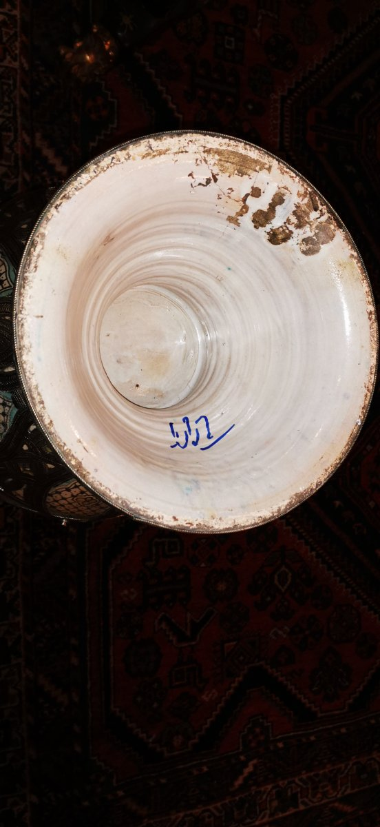 Grand Vase Potiche Orientaliste Maroc Ceramique Argent -photo-2