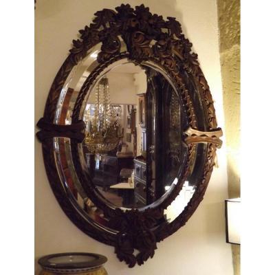 Grand Miroir Ovale part close Biseauté,bois Sculpté XIX