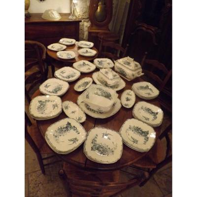 Service De Table Luneville Modèle Champetre 57 Pièces,assiettes,plat....