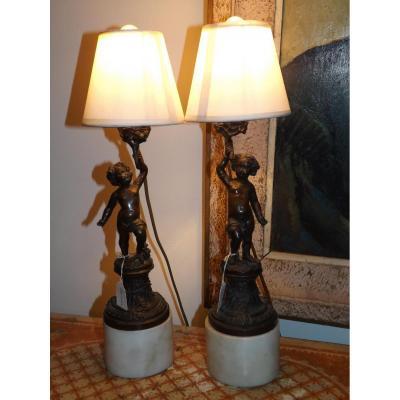 Paire De Lampe En Bronze Ange Putti XVIII -XIX Empire