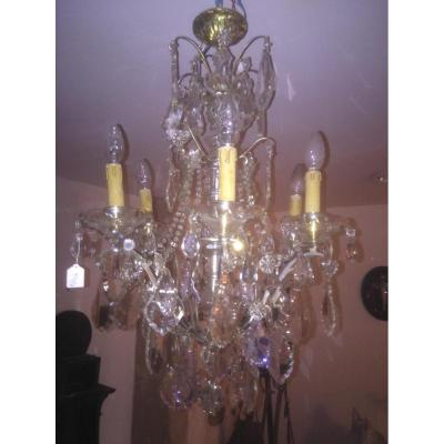 Grand Lustre à Pampilles Cristal  Bronze Argenté XIX