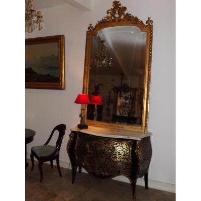 Grand Miroir Doré XIX Style Louis XV