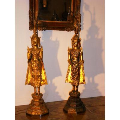Paire Bouddha Bronze Monté En Lampe