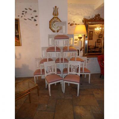 Suite De 12 Chaises Directoire Peinte,tapisserie Soie