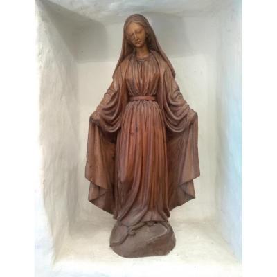 Grande Vierge De Procession En Bois XIX