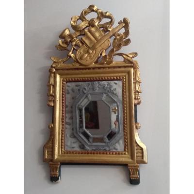 Petit Miroir Attribut Musique Style Louis XVI