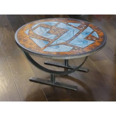 Jean Juffeux Enameled Modernist Pierre De Lava Coffee Table