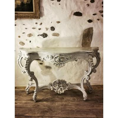 Very Large Patinated Console Louis XV Style