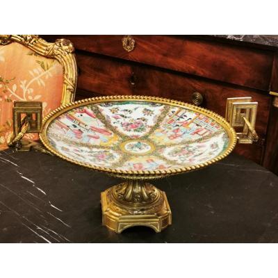 Coupe En Porcelaine De Canton, monture Bronze doré XIX