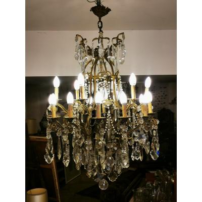 Huge Cage Chandelier With Bronze And Crystal Tassels 21 Lights
