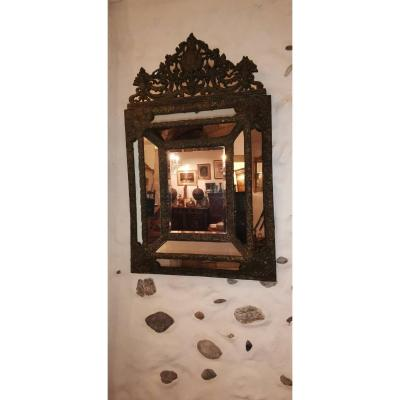 Large Mirror With Parclose In Repoussé Brass XIX