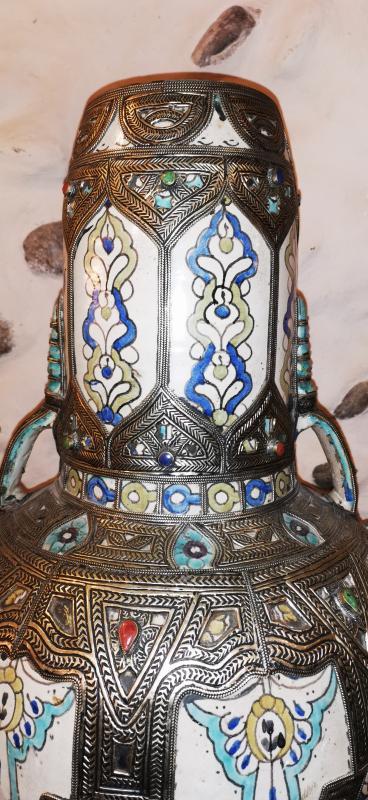 Grand Vase Potiche Orientaliste Maroc Ceramique Argent -photo-3