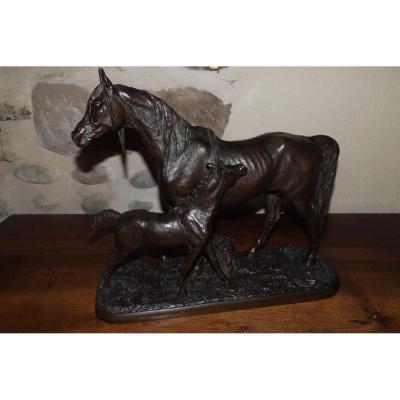 Bronze Cheval Et Son Poulain Signé Fratin (1801-1864)