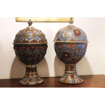 Paire De Grands Vase Ethnique Pot Couvert Maroc