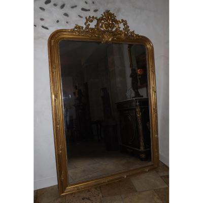 Tr s grand miroir dor fronton xix style louis xv miroirs for Grand miroir decoratif