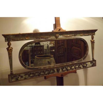 Long Miroir Empire,patine Grise Et Vert Louis XVI