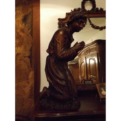 Grande Statue Religieuse En Bois sculptè,ange Prieur,xix