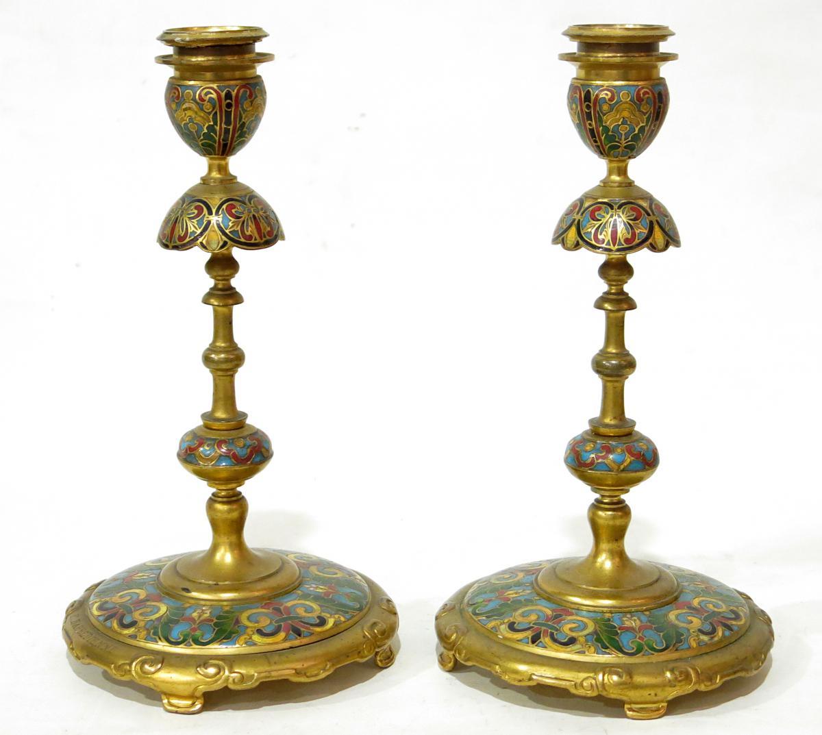 Paire De Bougeoirs En émaux Champlevés De Ferdinand Barbedienne (1810-1892)