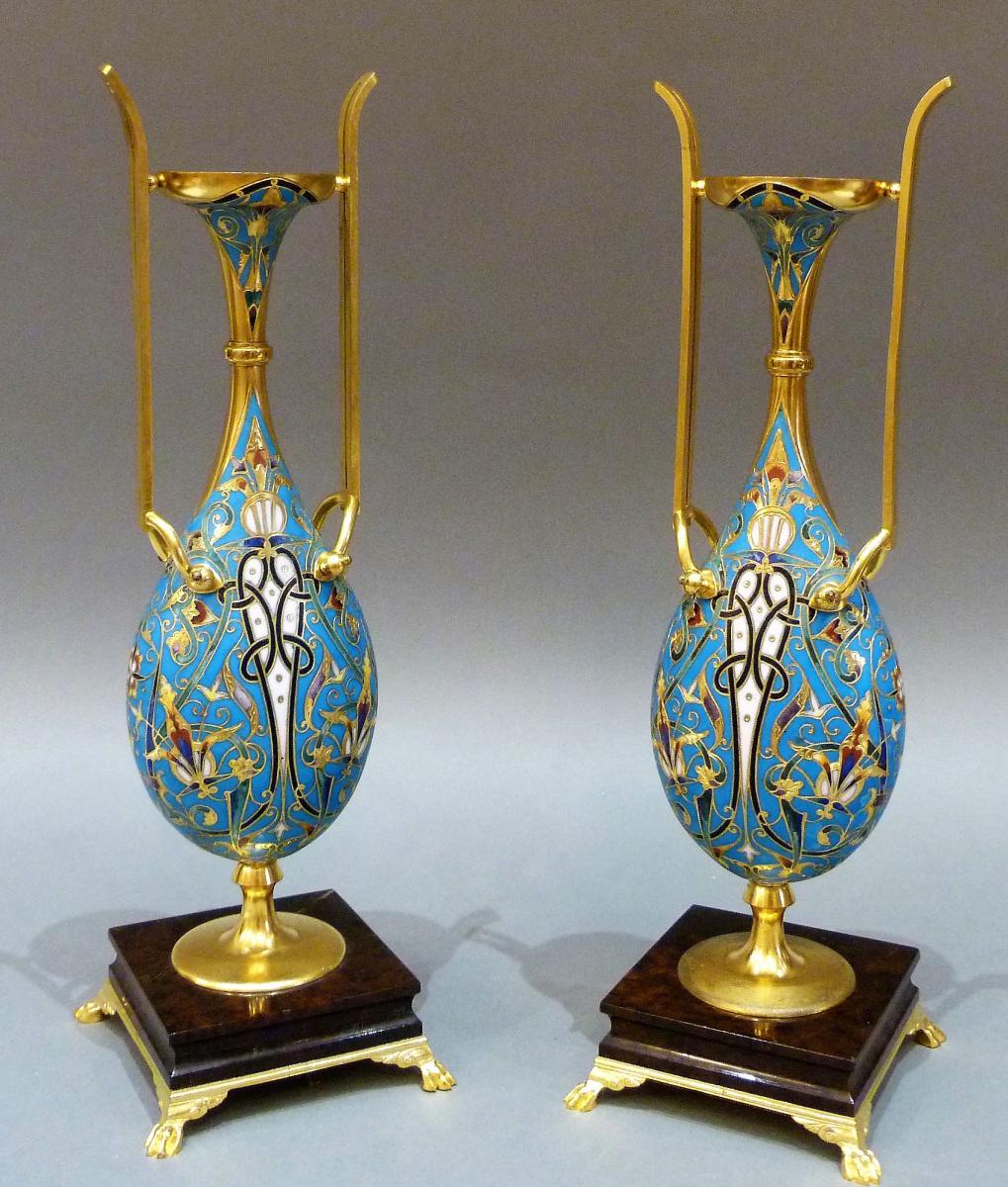 Paire De Vases De Style Persan - Ferdinand Barbedienne (1810-1892) Et Louis-constant Sévin