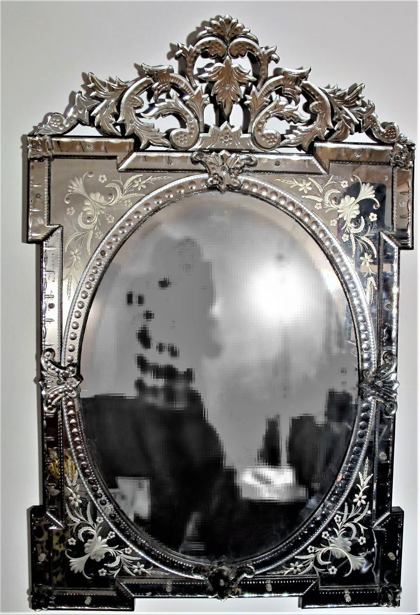 Important Miroir De Venise En Verre Gravé , Fin XIXe Siècle