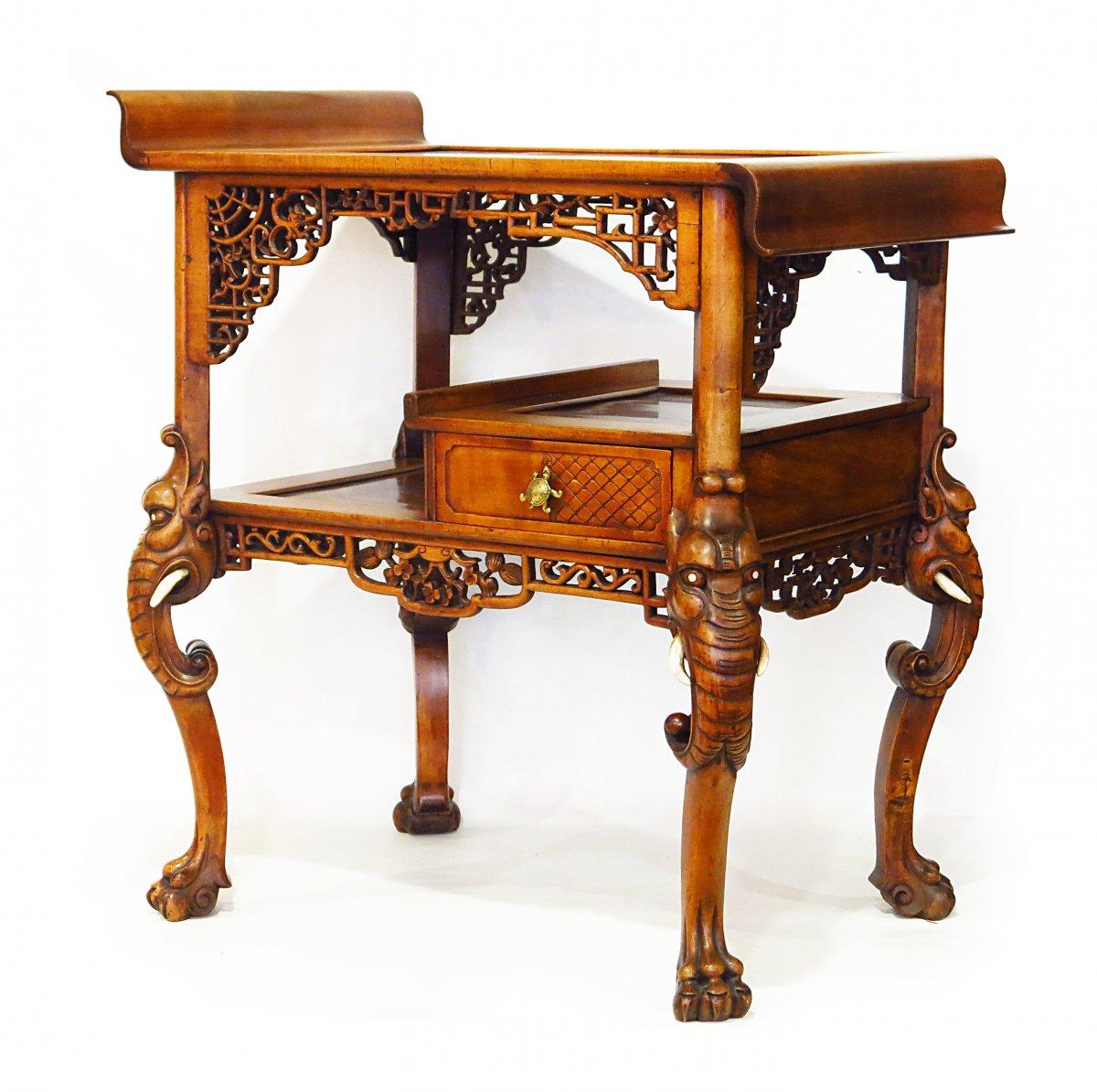 Table Pagode Japonisante Attribué à La Société Parisienne, Daï-nippon