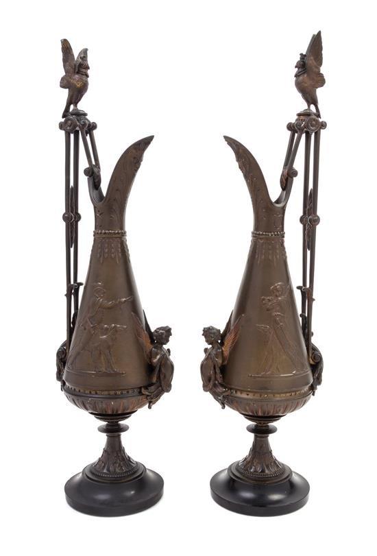 A Pair Of Ewers Bronze Neo-greek Revival Attribued To Ferdinand Levillain (paris, 1837- Paris,