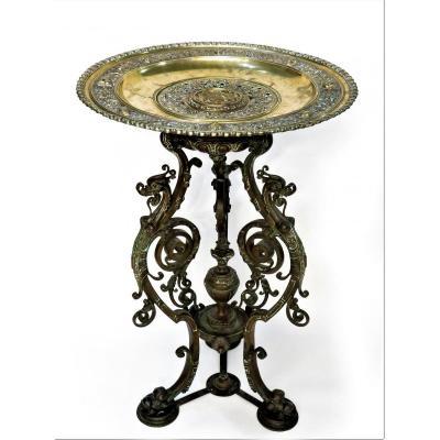 Guéridon En Bronze époque Napoléon III De Style Gothique Violet-le-duc