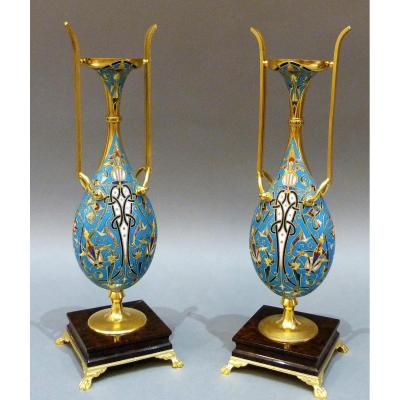 Air Of Persian Style Pvases - Ferdinand Barbedienne (1810-1892) And Louis-constant Sévin