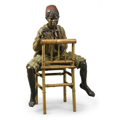Bernhard Bloch (1836-1909), Life-size Terracotta Of A Boy From North Africa