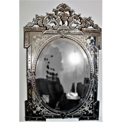 Large Venician Engraved Glass Mirror, Late 19th Century