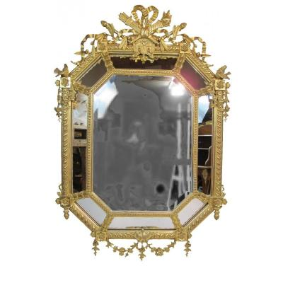 Miroir Octogonal à Parcloses d'époque Napoléon III
