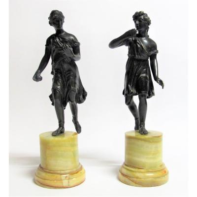 Pair Of Antique Sculptures Representing Atalante And Hippomène, 19th Century
