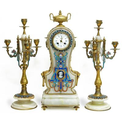 L.c. Sévin & F.barbedienne, Neoclassical Style Set Clock Onyx And Ename
