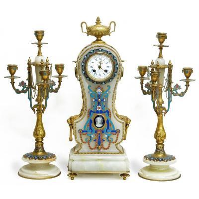 L.c. Sévin & F.barbedienne, Garniture De Style Néoclassique En Onyx Et émail
