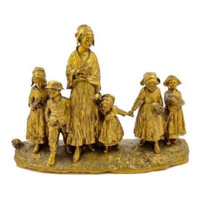 D'aste Giuseppe (1881-1945), Gilded Bronze Group