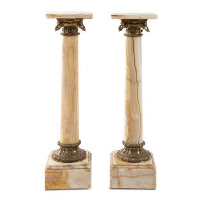 Pair Of Neoclassical Onyx Columns And Gilded Bronze, Late 19th Century