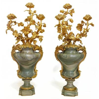 Large Pair Of Marble Mounted Bronze Vases, Maison Millet In Paris.