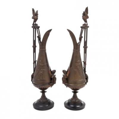 Paire d'Aiguières En Bronze De Style Néo-grec Attribuées à Ferdinand Levillain