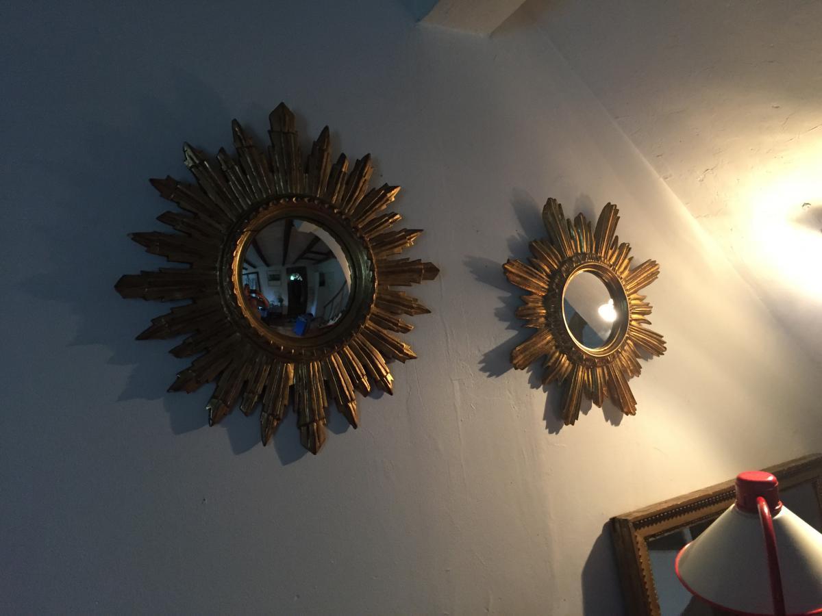 Diametre 50 miroir soleil glace bomb e bois dor miroirs for Glace soleil miroir