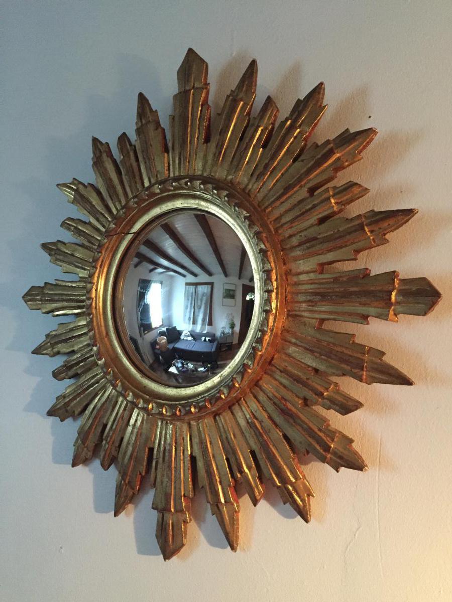 Diametre 50 miroir soleil glace bomb e bois dor miroirs for Miroir soleil bois